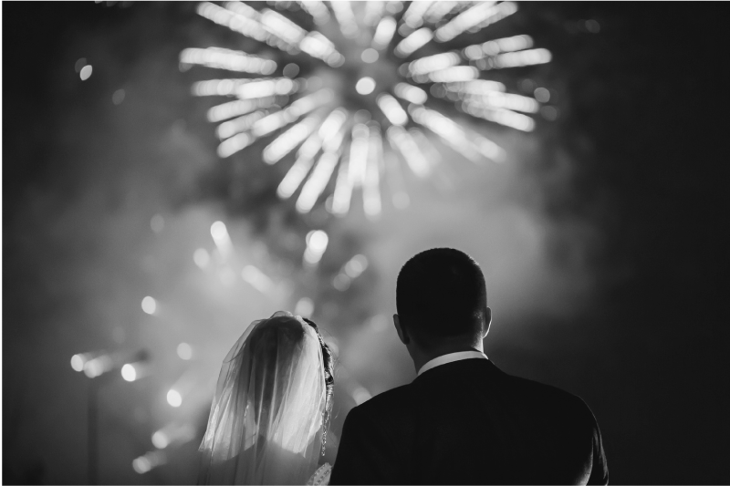 fine de soirée mariage - le feu d'artifice