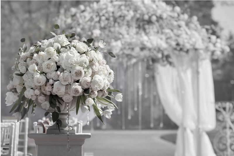 accueil floral dans les jardins du chateau - mariage été